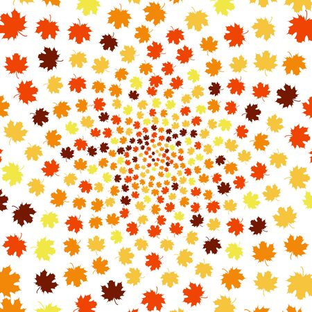fall leaves: Fall Background Design with Autumnal Leaves. Spiral. Illustration