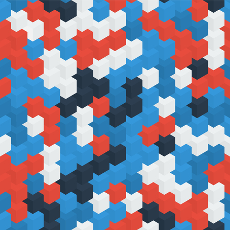 right side: Isometric red blue white cubes background. Right side. Illustration