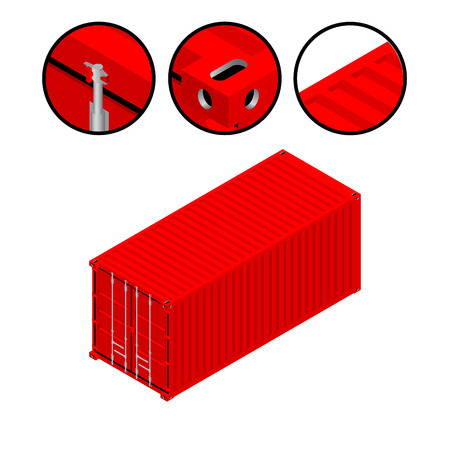 High detailed cargo container isometric vector illustration. Isolated in white background. 向量圖像
