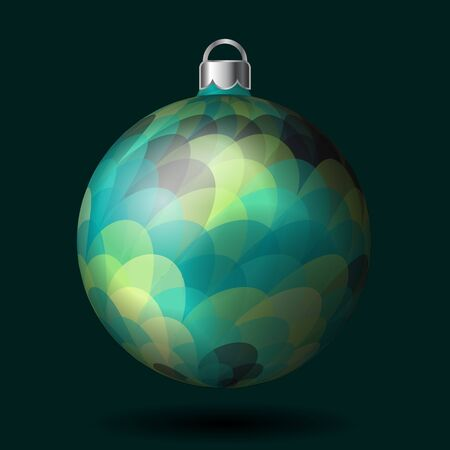 caes: Christmas tree ball with colorful pattern, isolated on dark background. Vector illustration. Part of xmas balls set.