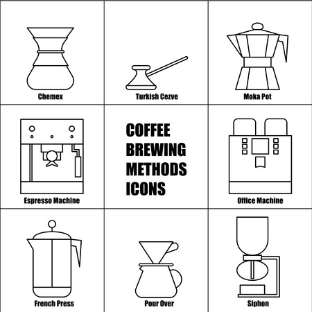 Coffee Brewing Methods, Vector Thin Line Icon Set: French Press, Moka Pot, Espresso and Office Machine, Pour Over Coffeemaker, Percolator, Automatic Drip, Turkish Cezve, Ceramic Dripper, Chemex. Иллюстрация