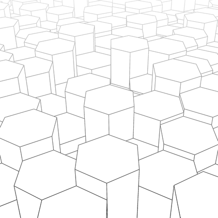 Abstract digital landscape with hexagons on horizon. Cyber or te