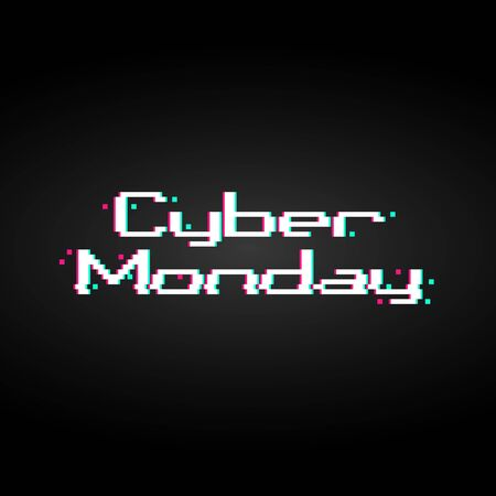 Background with glitched anaglyph pixel art of Cyber Monday