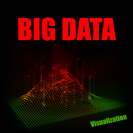Vector abstract 3D big data visualization. Technology background 向量圖像
