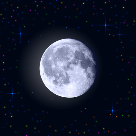 Full moon with craters and stars around