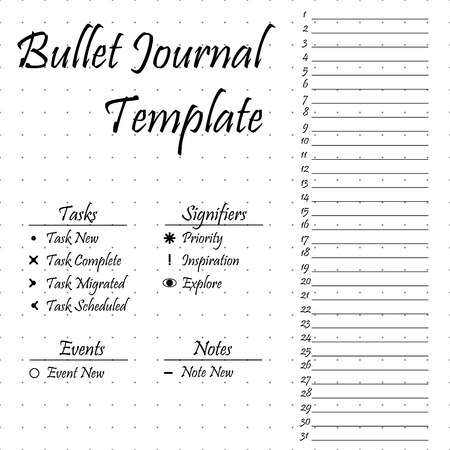 Bullet journal template. Simple papers task tracker Çizim