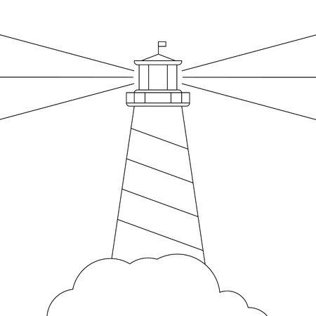 black and white vector lighthouse, isolated on white
