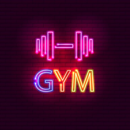 GYM neon light glowing bright singboard Illustration