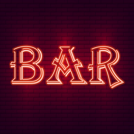 Luminous neon sign bar against a brick wall. Vector illustration for web banner, poster, invitation or greeting card