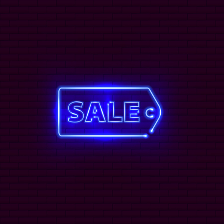 Sale neon sign on the brick wall. Vector Illustration.