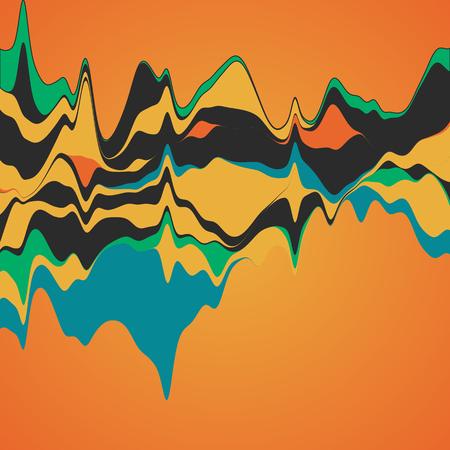 Visualización de big data. Streamgraph. Infografía futurista. Diseño estético de la información. Ilustración de vector