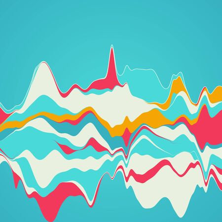 Big data visualization. Streamgraph. Futuristic infographic. Information aesthetic design. Palette color
