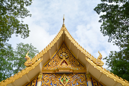 buddhist temple roof: Roof and Eaves of Thai Buddhist Temple