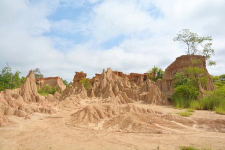 soil erosion: Soil erosion of rain and wind called Sao Din Na Noi, Nan District Thailand Stock Photo