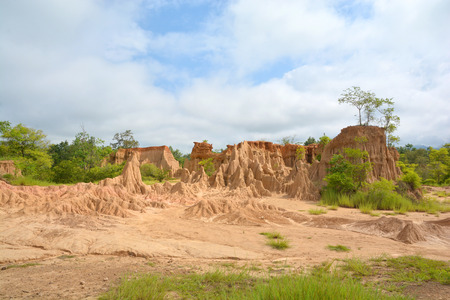 Soil erosion of rain and wind called Sao Din Na Noi, Nan District Thailand Stock Photo