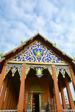 buddhist temple roof: Buddhist Temple top of roof public location in northern thailand