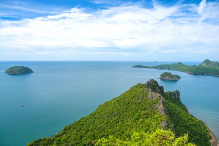 Beautiful high angle view sea sky background from the mountain at Khao Lom Muak, Hua-Hin District, Thailand