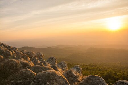 Beautiful sunset on nodule rock field 's name Lan Hin Pum viewpoint at Phu Hin Rong Kla National Park in Thailand Stock fotó