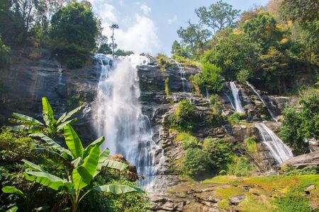 "Water fall located in deep rain forest jungle named ""Wachirathan"" at Chiang Mai, Thailand"