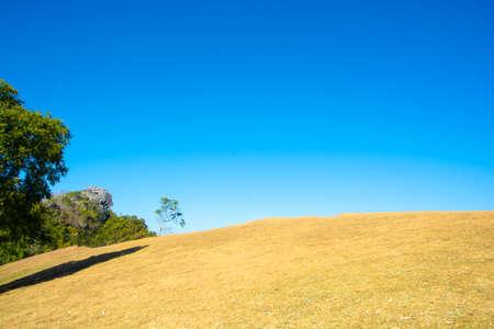 Ladscape landmark label and dry grass hilltop at Doi Samer Dao in Nan , Thailand (Public Domain).