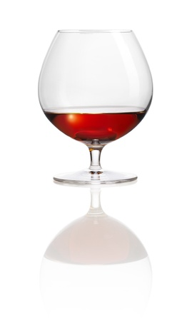 bar ware: isolated snifter with brandy