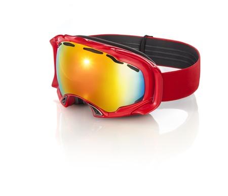 reflective: red ski goggles with orange reflective lenses