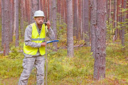 Forest engineer performs forest taxation. Forestry and forestry. Real people work. Man in work clothes.