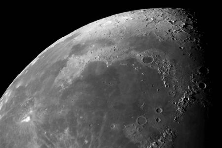 Photo of the moon with high magnification. Moon, view through a telescope. Moon with craters. Stock Photo