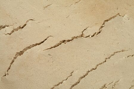 A layer of land. Background image with the texture of the earth. Photo of a slice of the earth's surface. Cracks in the soil.