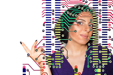 Portrait of a European woman against the background of an electronic microcircuit. Identity biometric identification concept.