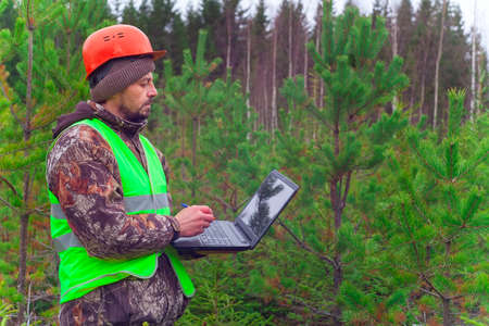 A forest engineer works with a computer in the forest. Reforestation concept. Stock Photo
