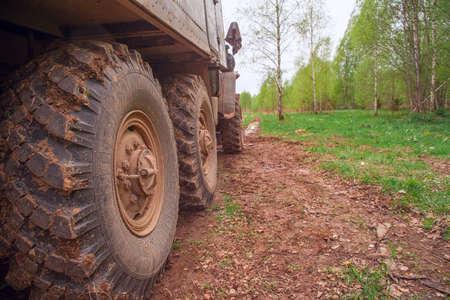 Big wheels of an old all-terrain vehicle.