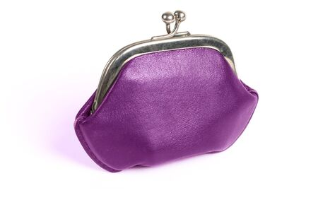 purple old style wallet with metall lock photo