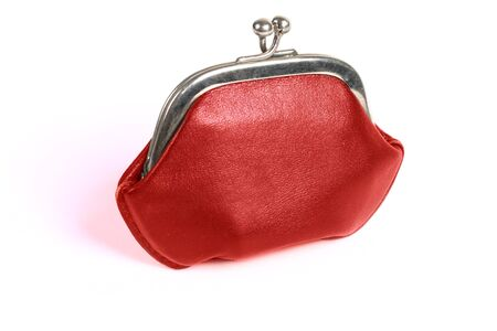 red old style wallet with metall lock photo