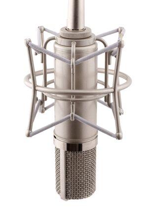 condenser: macro of proffecional studio microphone isolated on white