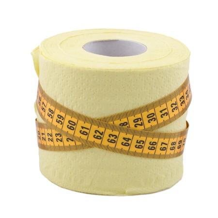 centimetre: yellow centimetre and toilet paper on white