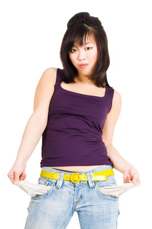 moneyless: Asian standing woman with empty pockets