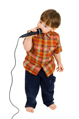 Kid singing, with black microphone on white background