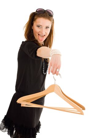hook like: Woman holding hanger and tongue hang on