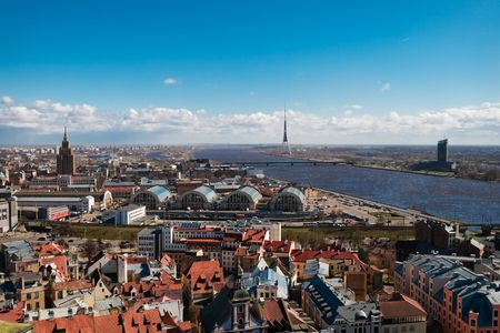 Cityscape of riga, view on the river and TV tower photo