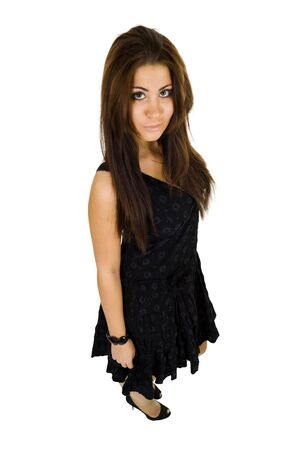 lewd: Young woman standing in black gown with lewd look Stock Photo