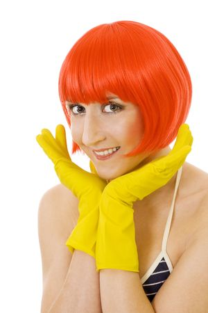 woman with red hair and yellow gloves photo