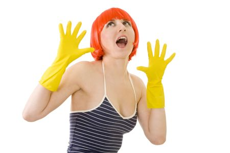 Exiting woman in yellow glowes and red hair photo