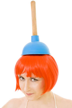joyfull: confident woman maid with cleaning tool wearing red wig