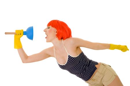 Woman shouting with working tool standing in profile photo