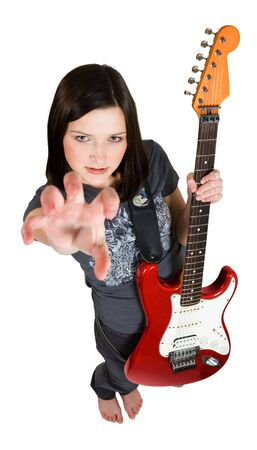 frighten woman holding red guitar photo