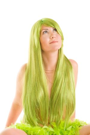 happy woman mermaid with long green hair sitting looking up photo