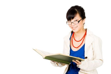 dissertation: Asian business woman in glasses reading and smiling