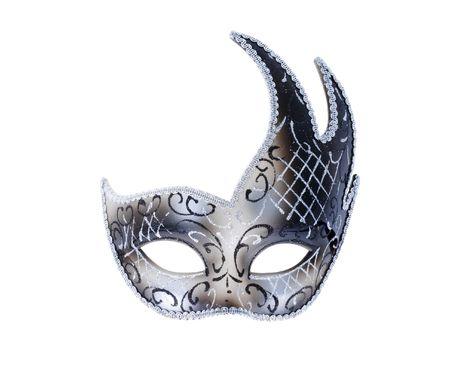 mascaras de carnaval: una máscara de teatro veneciano aislado en color plateado
