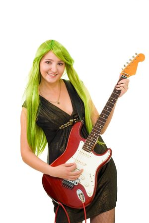 happy woman with green color hair and red electrick guitar